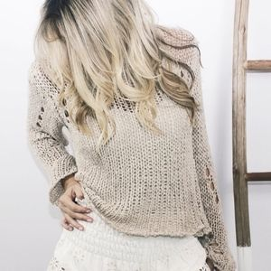 Moon River Destroyed Beachy Tan/Nude Sweater